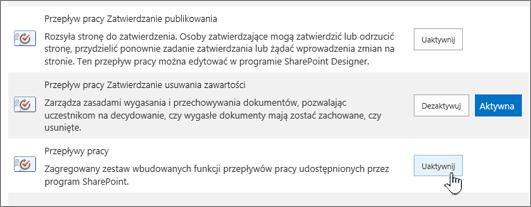 Przepływy pracy włączenie funkcji zbioru witryn