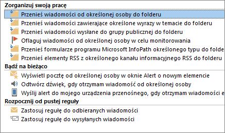 Kreator reguł programu Outlook