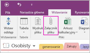 Zrzut ekranu przedstawiający przycisk Wstaw załącznik z plikiem w programie OneNote 2016.