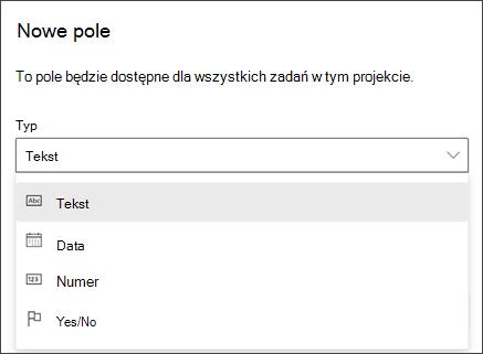 Zrzut ekranu przedstawiający okno dialogowe Nowy pole z wyświetlonymi typami tekst, Data, liczba, tak/nie