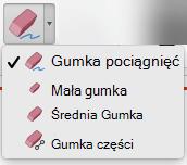Na komputerze Mac program PowerPoint dla pakietu Office 365 ma cztery Gumka do cyfrowego pisma odręcznego.