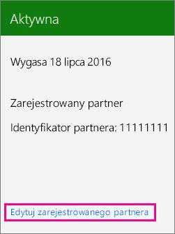 Wybieranie pozycji Edytuj zarejestrowanego partnera