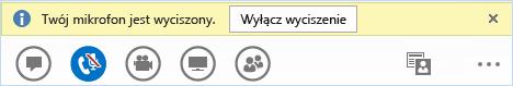 Przycisk Wyłącz wyciszenie w programie Lync