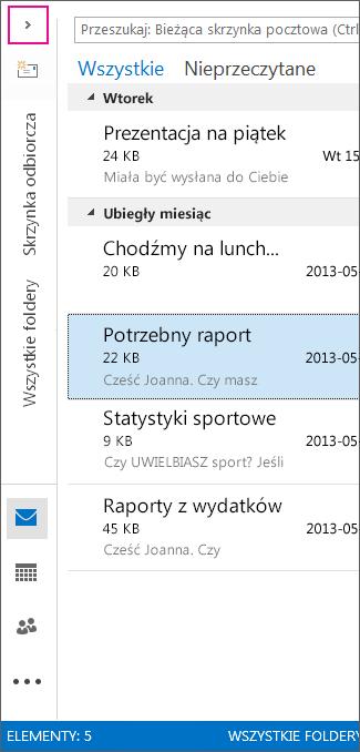 Widoki wyświetlane jako ikony w zminimalizowanym okienku folderów