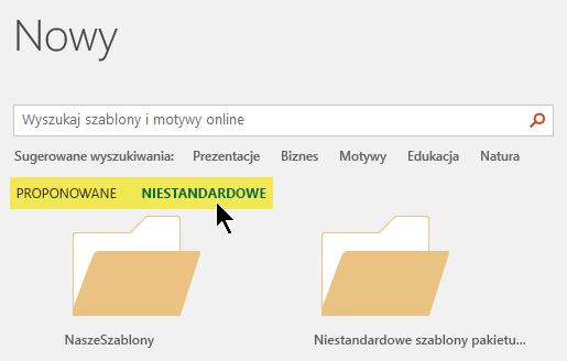 Karty pojawiające się poniżej pola wyszukiwania, jeśli zdefiniowano niestandardowej lokalizacji przechowywania szablonów