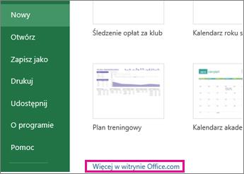 kliknij pozycję Więcej w witrynie Office.com