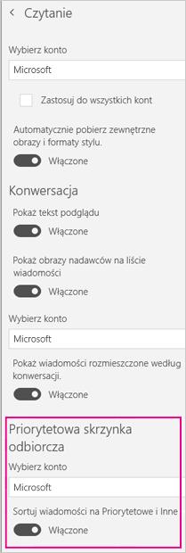 Włącz lub wyłącz priorytetową skrzynkę odbiorczą za pomocą suwaka w obszarze Sortuj wiadomości do folderów Priorytetowe i Inne