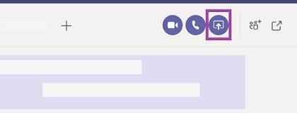 Udostępnianie ekranu w oknie czatu w aplikacji Teams.