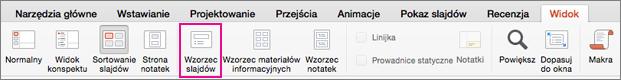 Przycisk Wzorzec materiałów informacyjnych na karcie Widok