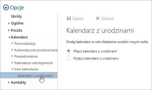 Zrzut ekranu przedstawiający menu brithday kalendarze w obszarze Ustawienia