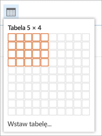 Dodawanie prostej tabeli w aplikacji Outlook w sieci Web.