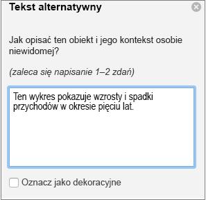 Okienko tekstu alternatywnego w programie Word