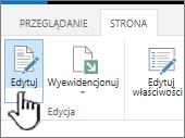 Karta strony z wyróżnionym przyciskiem Edytuj