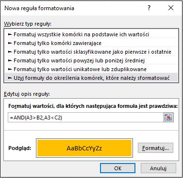 Formatowanie warunkowe > Okno dialogowe Edytowanie reguły wyświetlające metodę formuły