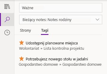 Rezultaty wyszukiwania tagów w programie OneNote dla systemu Windows 10