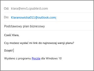 Wpisz temat i treść wiadomości e-mail, a następnie kliknij pozycję Wyślij.