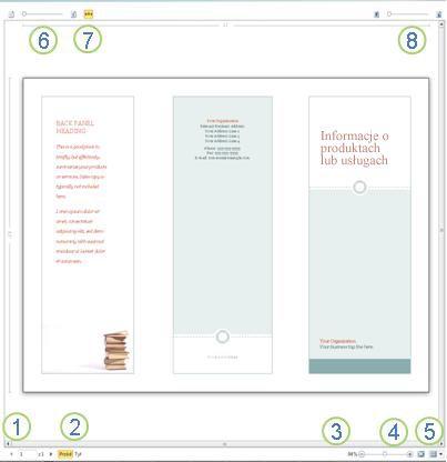 Podgląd wydruku w programie Publisher 2010