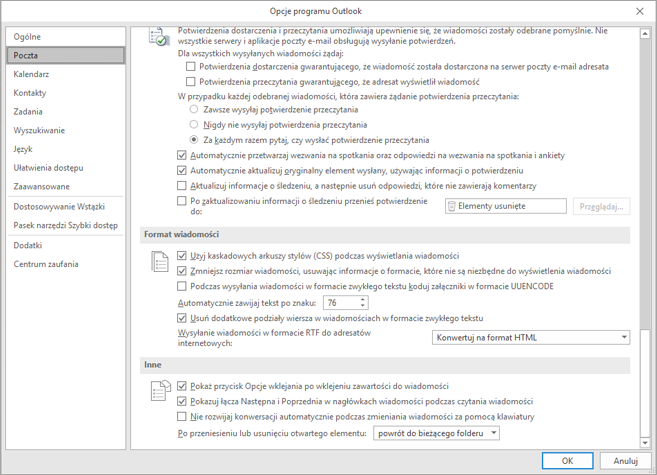 Strona Opcje programu Outlook z wyróżnionym kategorii poczty