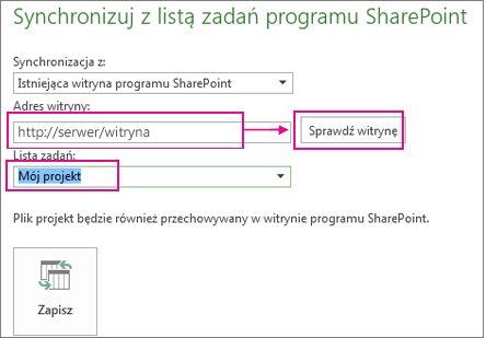 Zapisywanie projektu w programie SharePoint