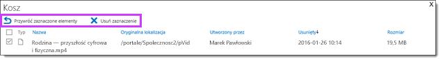 Wideo w usłudze Office 365, przywracanie lub usuwanie klipu wideo