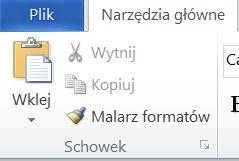 Grupa Schowek na karcie Narzędzia główne w programie Word