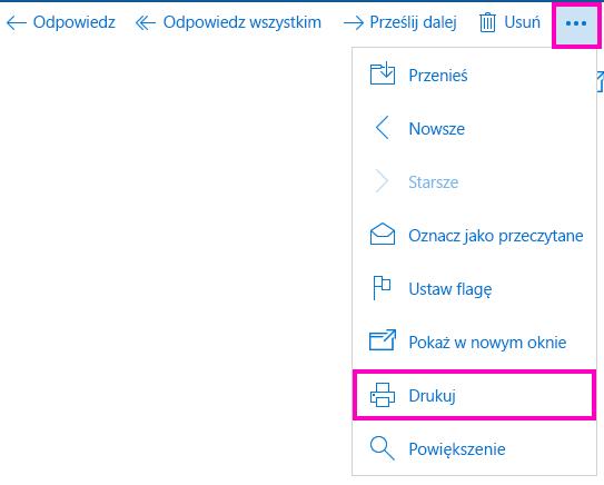 Drukowanie wiadomości e-mail w aplikacji Poczta dla systemu Windows 10