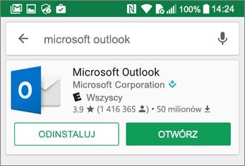 Naciśnij pozycję Otwórz, aby otworzyć aplikację Outlook
