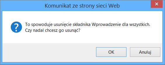W komunikacie o usunięciu kafelków Wprowadzenie dla wszystkich osób kliknij przycisk OK.