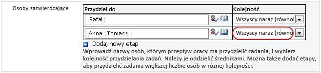 Ustawienia wyświetlane w formularzu