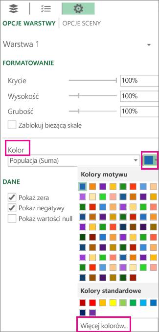 Lista rozwijana Kolor na karcie Ustawienia, Opcje warstwy