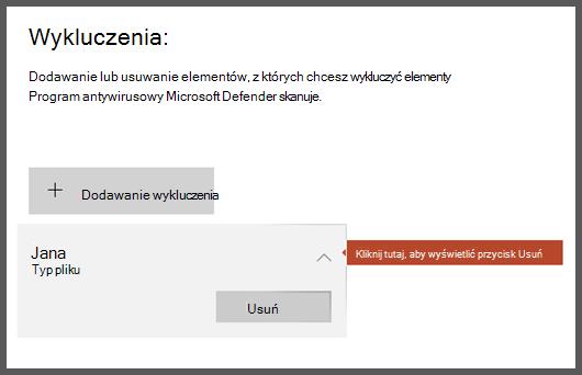 Strona wyjątki w obszarze Zabezpieczenia systemu Windows z zaznaczonym wykluczeniem umożliwia wyświetlenie przycisku Usuń.