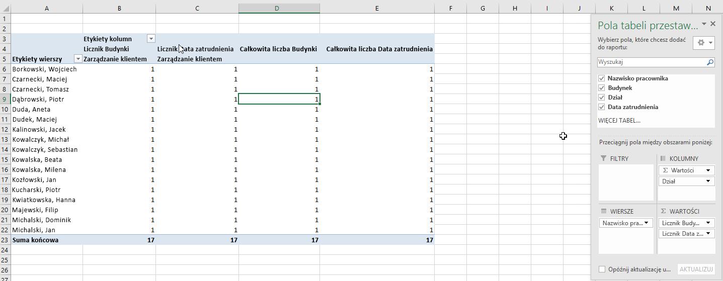 Wybieranie pól tabeli przestawnej