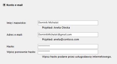 Wprowadzanie adresu e-mail i hasła