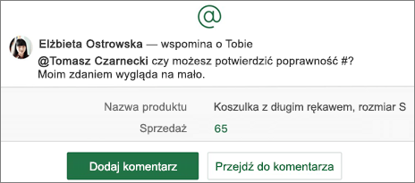 Arkusz kalkulacyjny ze @wzmianką i przyciskami Dodawanie komentarza oraz Przejście do komentarza