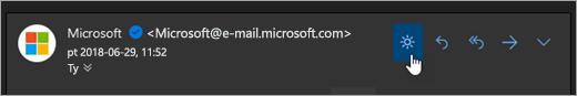 Zrzut ekranu przedstawiający przycisk Włącz światła