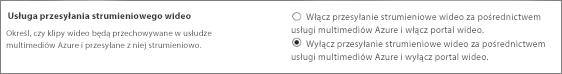 Ustawienie Wyłącz Wideo w usłudze Office 365 w centrum administracyjnym usługi SharePoint Online