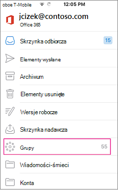 Grupy to węzeł na liście folderów w programie Outlook mobile