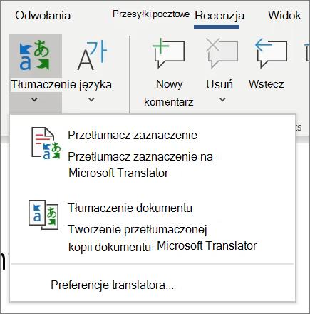 Tłumaczenie w programie Word