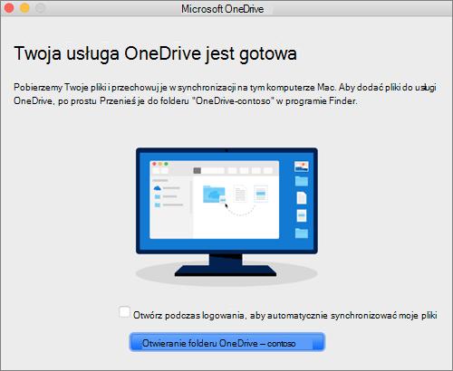 Zrzut ostatniego ekranu w kreatorze OneDrive —Zapraszamy! na komputerze Mac