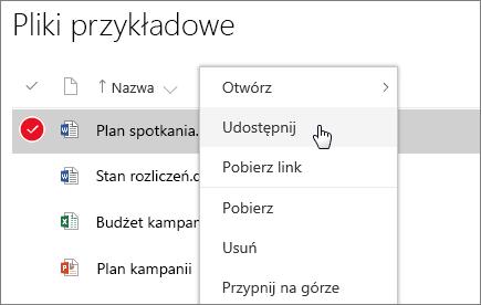 Zrzut ekranu przedstawiający menu skrótów dla dokumentu z aktywną opcją Udostępnij.