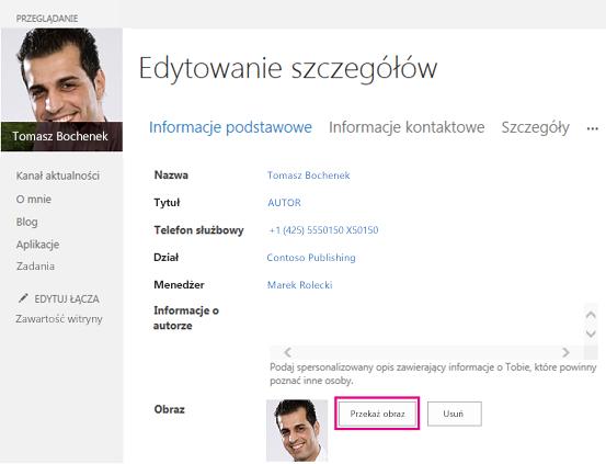 Zrzut ekranu przedstawiający okno dialogowe Zmień obraz w programie SharePoint z wyróżnionym przyciskiem Przekaż