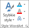 Grupa Style tekstu WordArt z widocznymi tylko ikonami