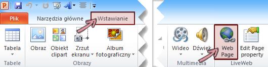 Na karcie Wstawianie na wstążce dodatek LiveWeb znajduje się na końcu po prawej stronie