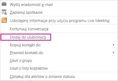 Zrzut ekranu przedstawiający listę rozwijaną z wyróżnioną pozycją Dodaj do ulubionych