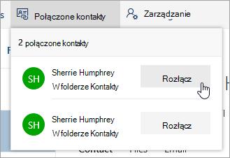 Zrzut ekranu: przycisk Rozłącz w menu połączone kontakty