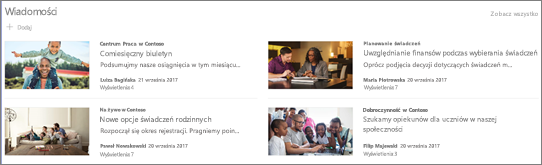 Układ Side-by-side dla składnika web part wiadomości