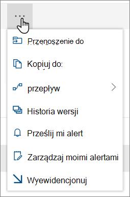 Opcje menu Przenieś do i Kopiuj do w górnym okienku nawigacji usługi SharePoint Online, gdy są zaznaczone pliki lub foldery