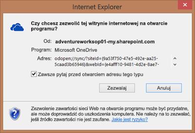 Zrzut ekranu przedstawiający okno dialogowe w programie Internet Explorer z prośbą o uprawnienie do otwarcia usługi Microsoft OneDrive