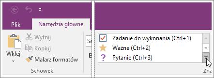 Zrzut ekranu przedstawiający listę znaczników w programie OneNote 2016.
