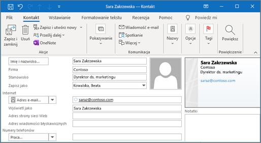 Dodawanie kontaktu w programie Outlook